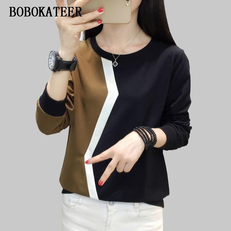 BOBOKATEER largo manga t camisa mujeres camiseta plus tamaño camiseta mujer camisetas mujer verano 2018