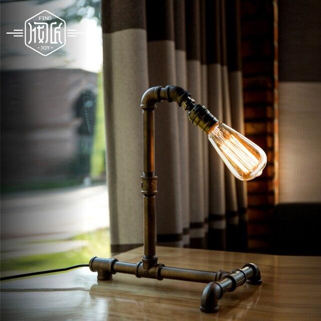 tafellamp loft vintage water pipe industrial table lamp for bedroom living room edison beside lamp lamparas