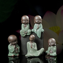 Kung Fu Ceramics Tea Pet Ornaments Little Monk Purple Sand Creative Home Desktop Decoration  E