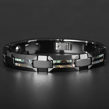 Good For Health Magnetic Bracelet Men Luxury Natural Shell Never Scratch Black Tungsten Steel Bracelets For Women Cross Jewelry