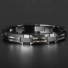 Pulsera magnética de acero de tungsteno para hombre y mujer, brazalete de lujo de concha Natural, nunca se raye, color negro, joyería cruzada