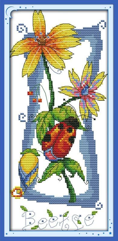 Joy Sunday Animal Style Sound of Flowers pattern DIY Needlework Handmade Stamped Modern Cross Stitch Kits Home Ornament for Kids