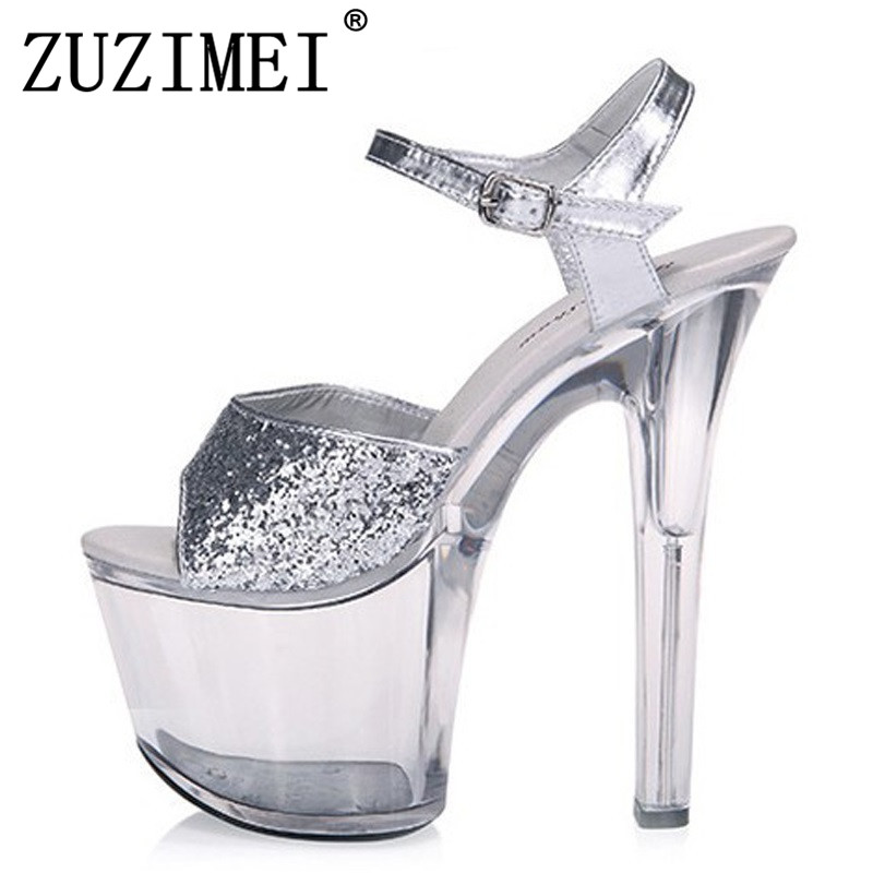 цены Big Size 35-44 15/17/20 CM Thin High Heels Women Crystal Pumps Sexy Transparent Sandals Platform Nightclub Shoes Glitter Silver