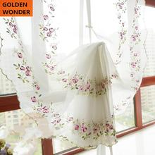 Beautiful Embroidery Purple Rose Pulling Curtain Rome Balloon Curtains For Living Room Bedroom Curtains White Tulle Chinese сумка rose rome dualyunnan 2015