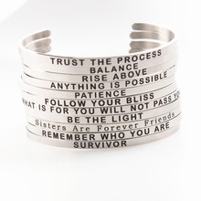 Custom Bangle Stainless Steel Engraved Positive Inspirational Quote New Cuff Mantra Bracelet for Women