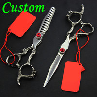 Customize Upscale Professional Germany 440c Dragon Hair Scissors Barber Cutting Scissor Thinning Shears Hairdressing Scissors