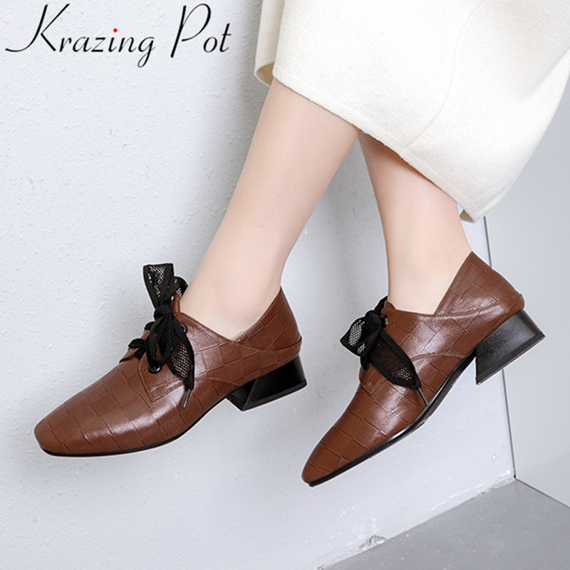 2019 superstar high quality big size genuine leather med heels women pumps lace up brand concise