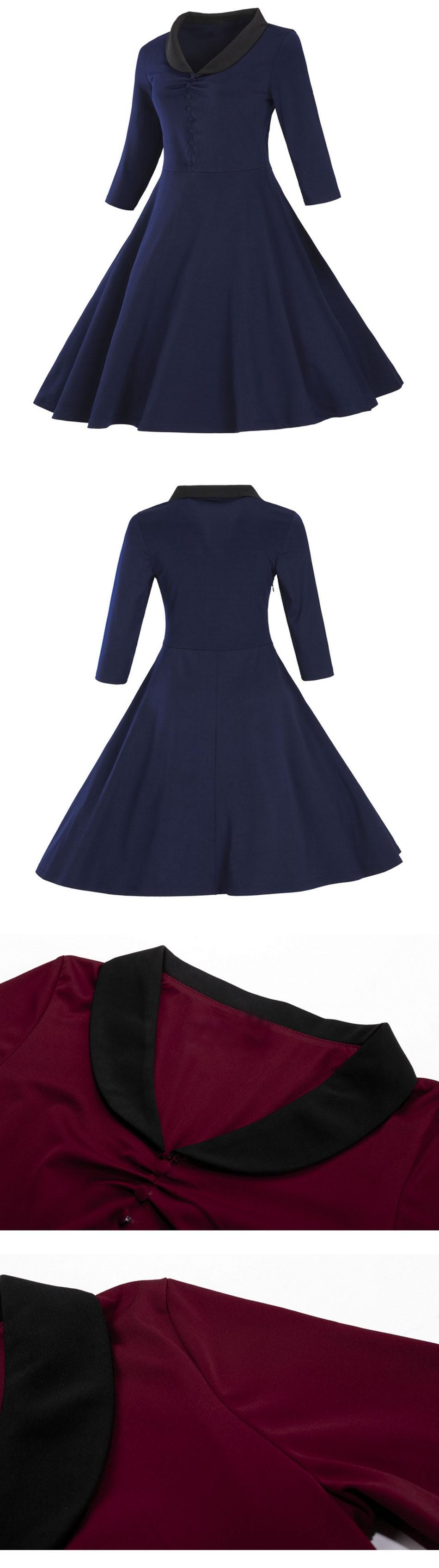 LERFEY Women Autumn Vintage Dress A Line Party Dresses Retro 1950s ... fbe2af0e33c7