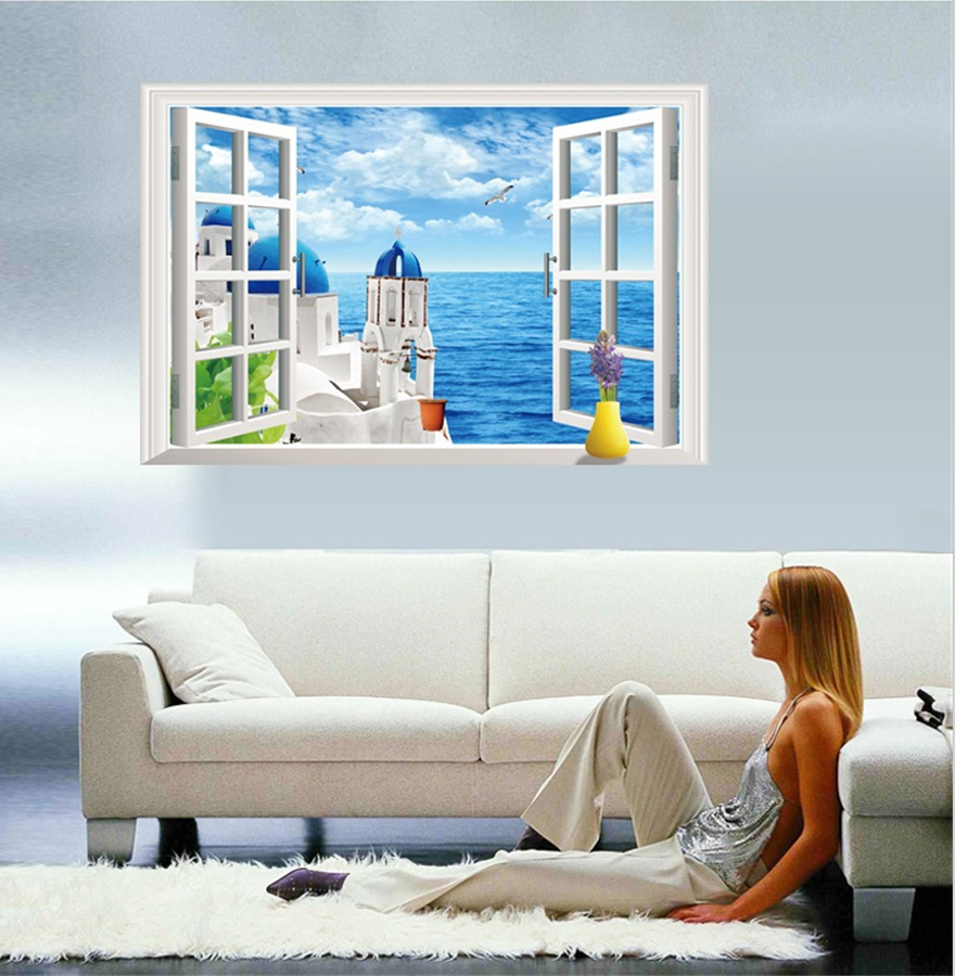 Wall Art Hd Ready To Hang Canvas Sincere Santorini Greece Sunset By Fake 3d Window