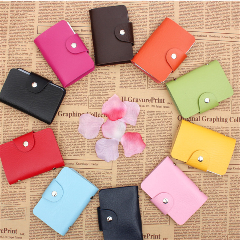 Colorful Solid Fashion Women Men Credit Card Holder Pu Leather Buckle Large Capacity Business ID Holders Organizer Wallet