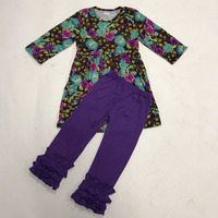Free Shipping Fashion Newborn Baby Cotton Outfits Print 2 Pieces Boutique Suit Violet Ruffle Pants Toddler