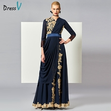 Dressv Elegant Muslim Abendkleid Dunkel Navy Elegant Fancy Long Sleeves Chiffon bodenlangen Stickerei Arabisch Abendkleid