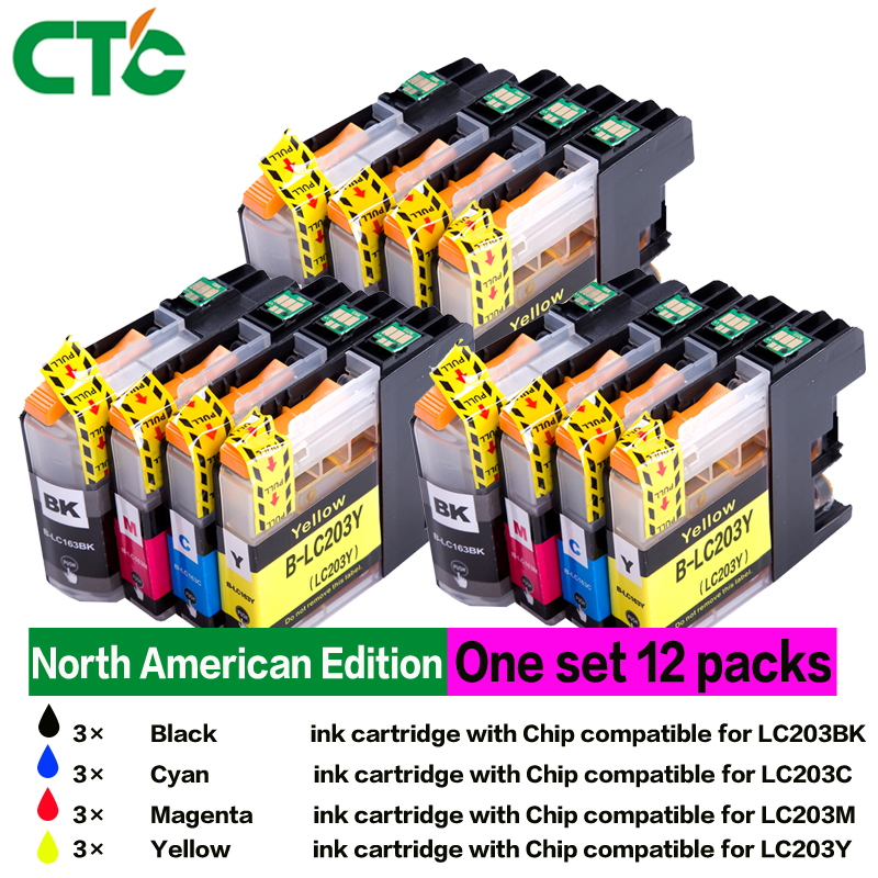 12Pack LC203 Ink cartridge For Brother MFC-J4320DW, MFC-J4420DW MFC-J4620DW etc. for photos in Halloween & Christmas