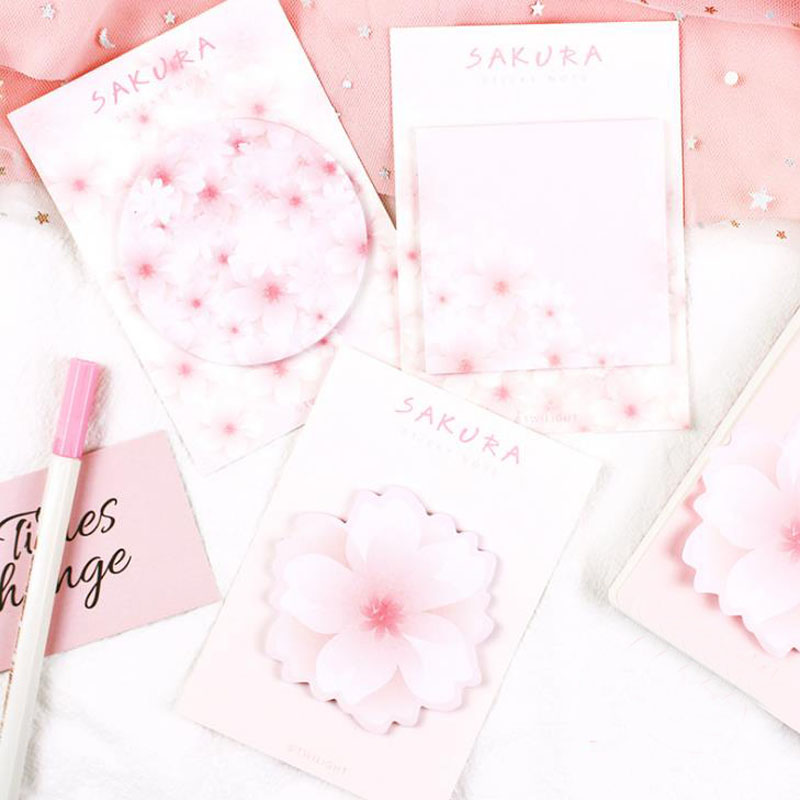 3 Pcs Kawaii Watercolor Sakura Memo Pad Planner Sticky Note Paper Sticker Kawaii Stationery Pepalaria Office School Supplies