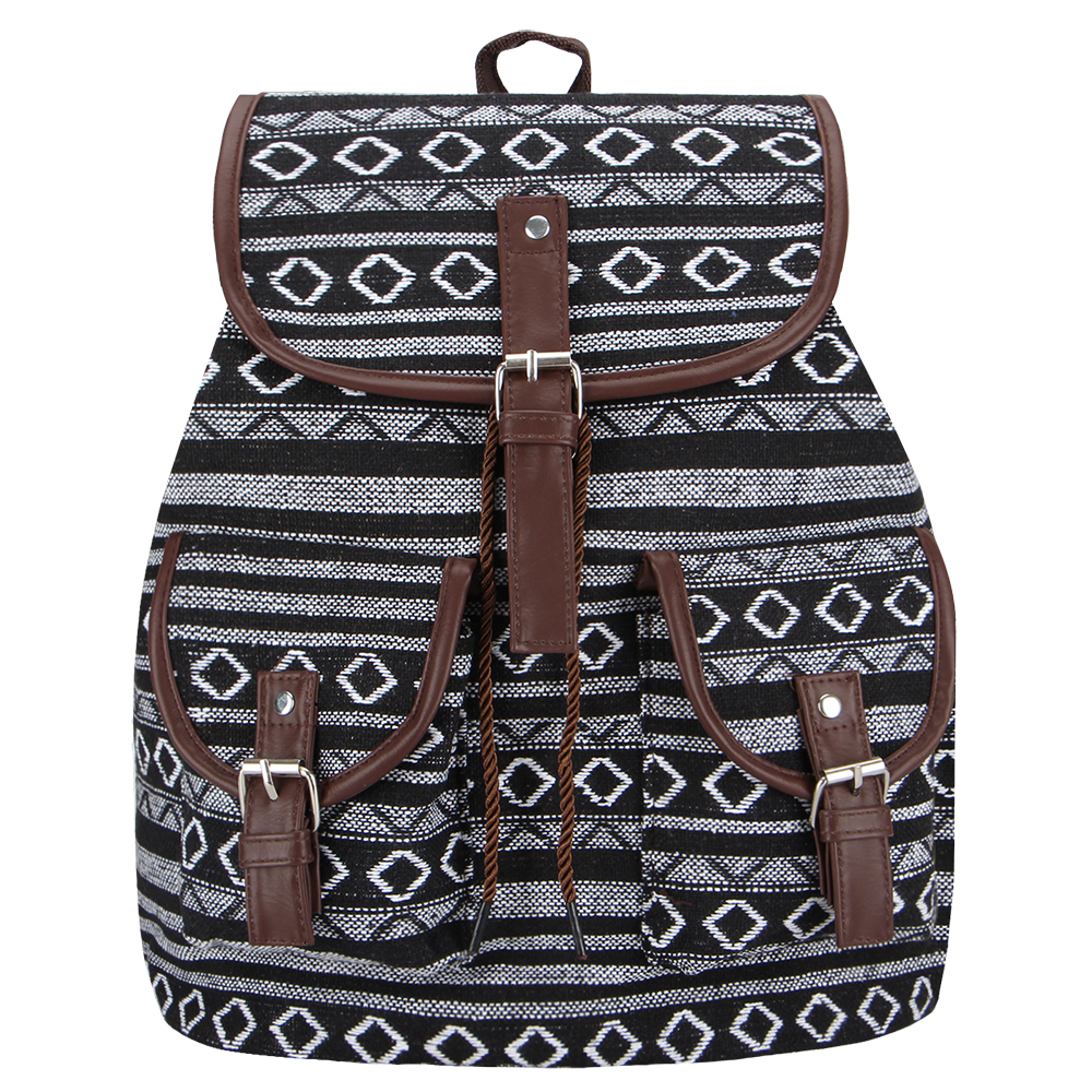 Women's Striped Ethnic Style Backpack 2
