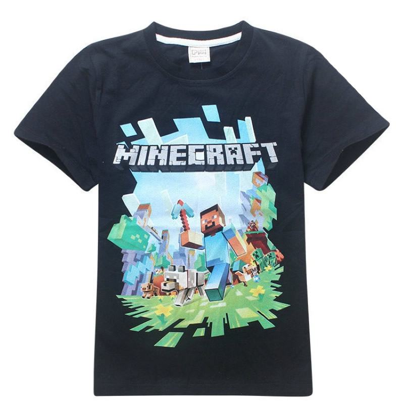 19 New years Spring autumn outwear Minecraft 3D cartoon children clothing Sweat shirts baby boys girls short sleeve shirts in T Shirts from Mother Kids
