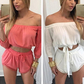 Women Summer Sexy Strapless Off Shoulder 2 Pieces Top + Drawstring Shorts Suit