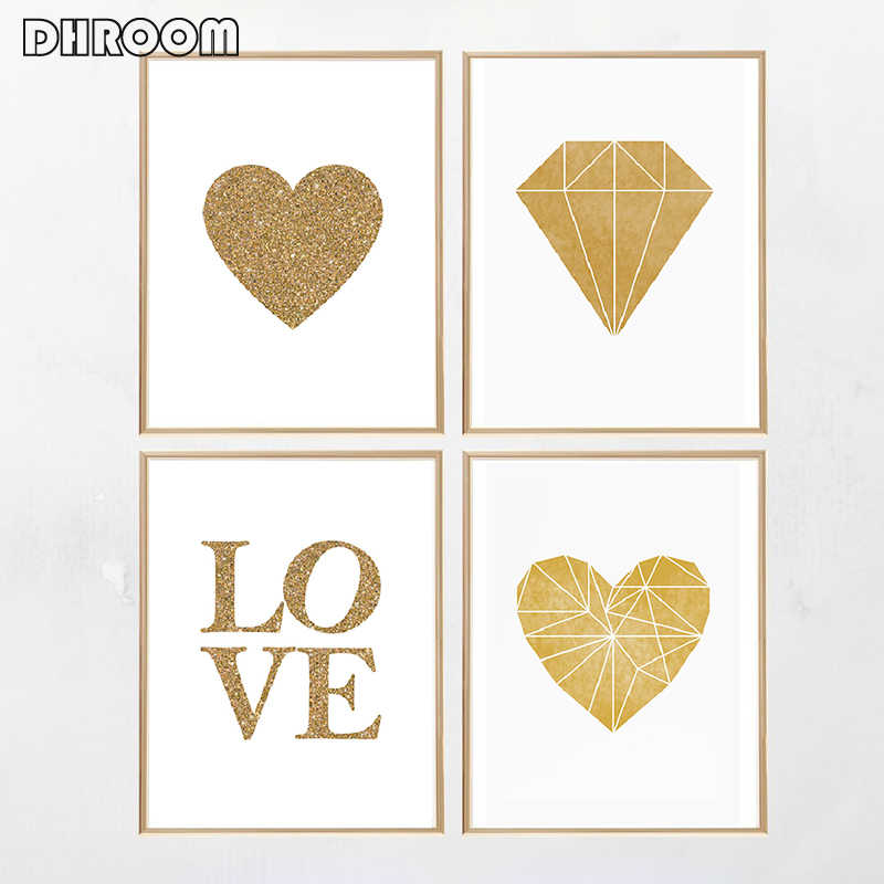 Gold Nursery Poster Print Gold Heart Love Word Gold Foil Canvas Painting Modern Diamond Wall Art Poster Living Room Home Decor