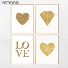 Gold Nursery Poster Print Heart Love Word Foil Canvas Painting Modern Diamond Wall Art Living Room Home Decor