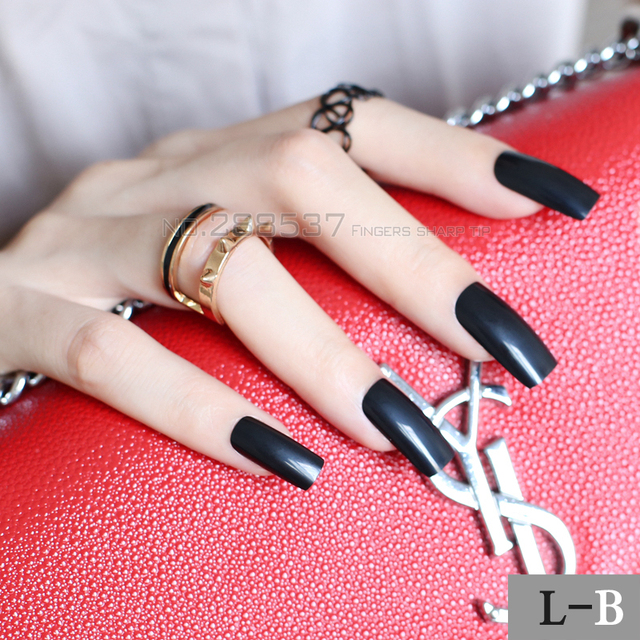 New Pure Super Long Square Head Black Fake Nail Candy Solid Color Full Wrap For Simple