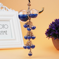 Modern Home Decorations Glass And Crystal Gourd Pendant Feng Shui Automotive Interior Ornaments Wind Chimes 6 Color Crafts