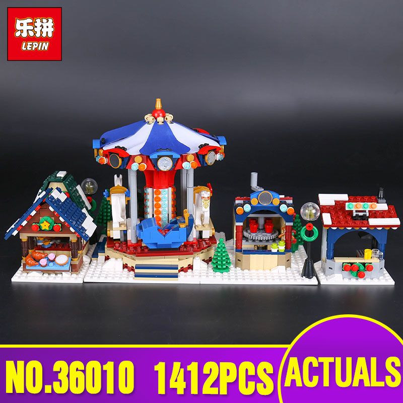 Lepin 36010 Genuine Creative Series The Winter Village Market Set legoing 10235 Building Blocks Bricks Toys Christmas Gifts lepin 36010 genuine creative series the winter village market set legoing 10235 building blocks bricks educational toys as gift