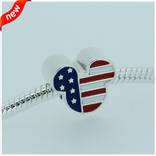 Fits Pandora Bracelets Mouse USA Charms 925 Sterling Silver Jewelry Charms Women Free Shipping