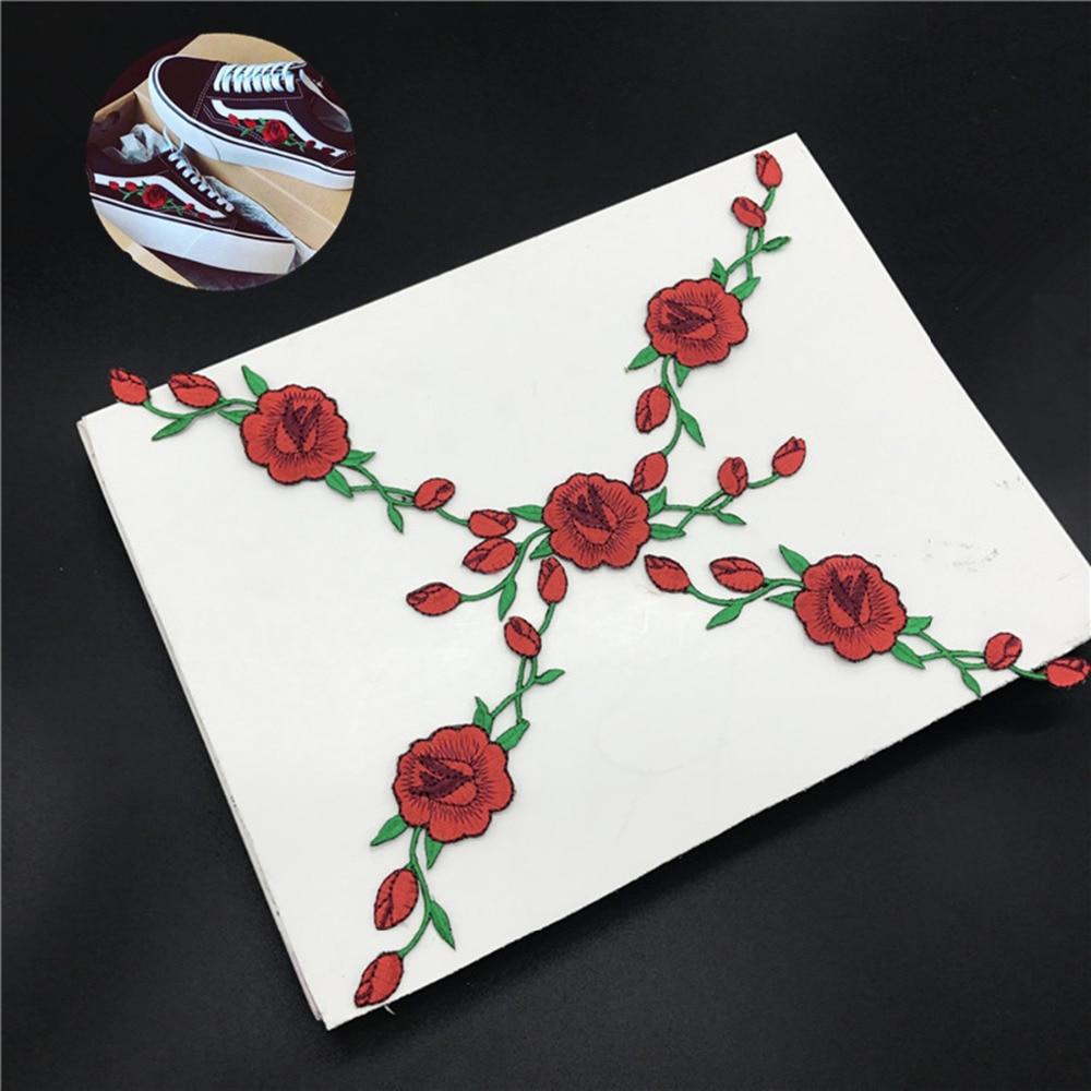 2 stück rose blume eisen auf strass muster dekorative applikation patch diy