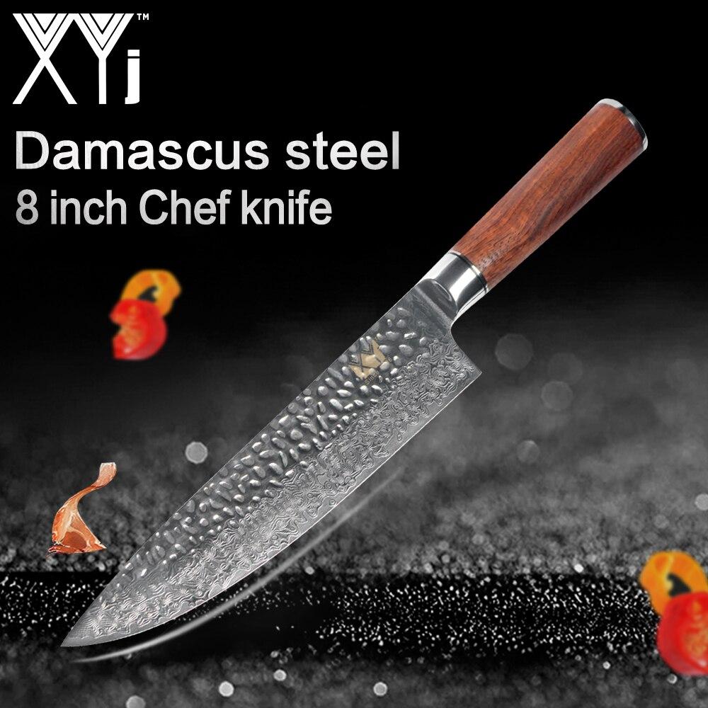 XYj 8 pouce Chef Cuisine Cuisine VG10 Damas Couteau Japonais Cuisine Cuisine Outil Accessoires Bois Poignée Couteaux Nouvelle Arrivée
