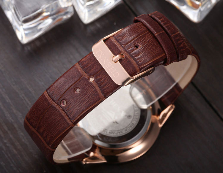 31fea620719 Ultra thin Dial CHENXI Watch Men Quartz Watches Classic Brown leather strap  Small dial can work Man Dress Fashion Wristwatch-in Quartz Watches from  Watches ...