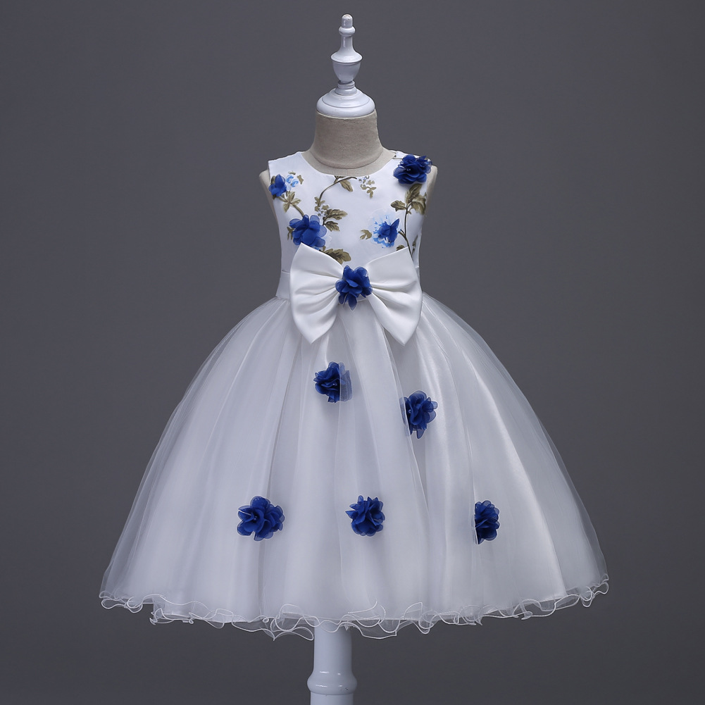 Beautiful Children Wedding Clothe Green Red Yellow Rose Pattern Toddler Glitz Pageant Dresses White and Blue Flower Prom Dress toddler shoe gauge children foot measurer yellow
