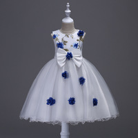 Beautiful Children Wedding Clothe Green Red Yellow Rose Pattern Toddler Glitz Pageant Dresses White and Blue Flower Prom Dress