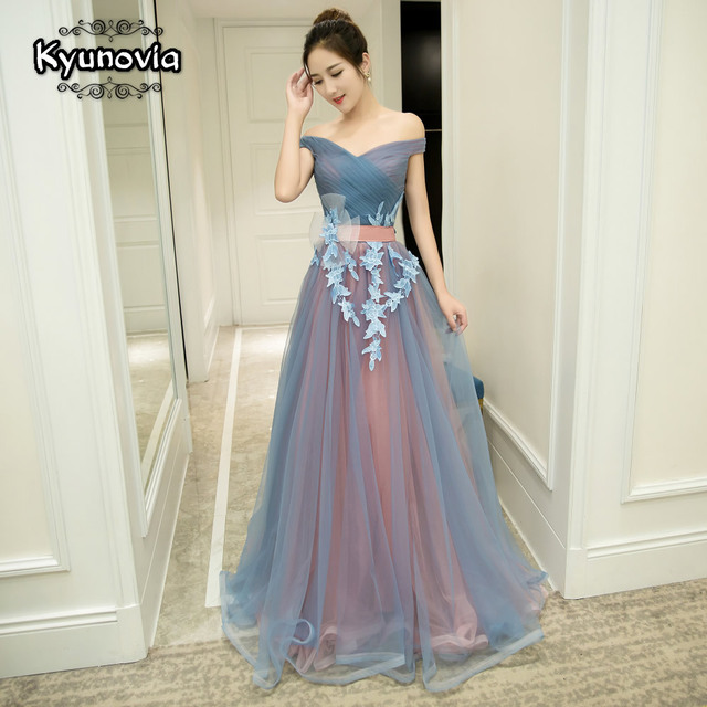 2 Styles Sleeveless Floor Length Prom Dress Lace Up Long Prom Dress Blue Strapless Evening Dress Appliques Prom Dresses FD29 3
