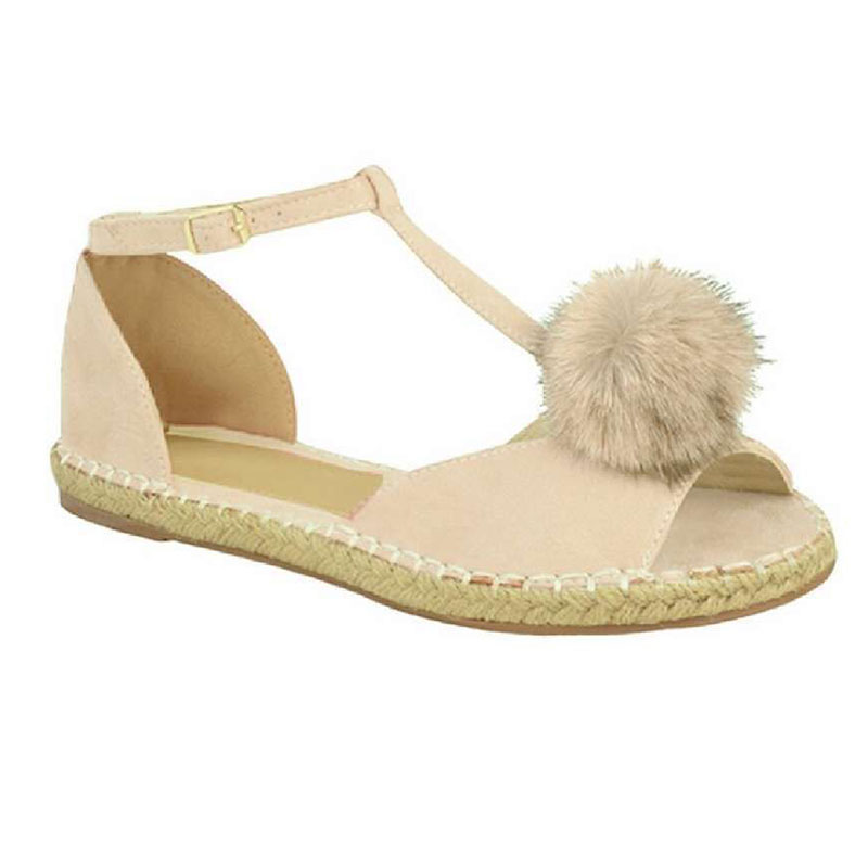 New Women Sandals Ladies Shoes Pointy Fuzz Ball Sandals 2018 Summer Word Buckle Slip On Shoes