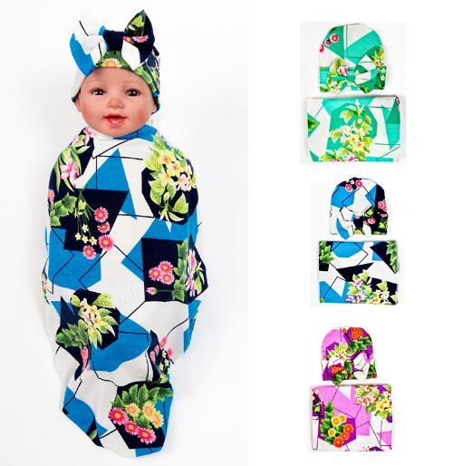 1 SET Baby Kids Girl Toddler Infant Floral Hairband Turban Bowknot Baby Flower Headband Swaddle & headwrap Hospital Swaddled Set