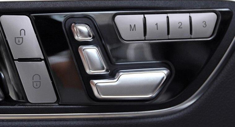 O envio gratuito de Porta Do Carro Assentos Memória Ajustando Botão Trim Tampa etiqueta para Mercedes-Benz CLA/ABL/GLK/GLE/CLS/GL/ML/A/B/E