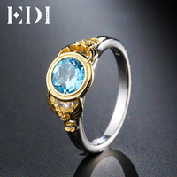EDI Unique Design Natural Blue Topaz Engagement Ring 925 Sterling Silver Two Tone Gold Plated Angels