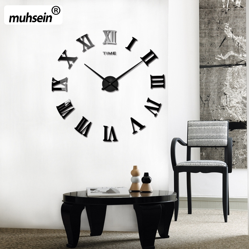 2019 New Arrival Quartz Clocks fashion watches 3D  home large  Wall Clock roman mirror fashion modern  Clock Wall Free Shipping