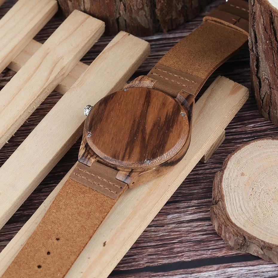 Men`s Wood Watch Handmade Annual Rings Block Points Black Hands Men Quartz Wrist Watches Brown Genuine Leather Starp Sports Hour (12)