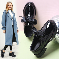 2019 Spring Oxfords Women Shoes Patent Leather Lace Up Chaussure Femme Middle Heel Flats Tenis Feminino Loafers Shoes Woman C71