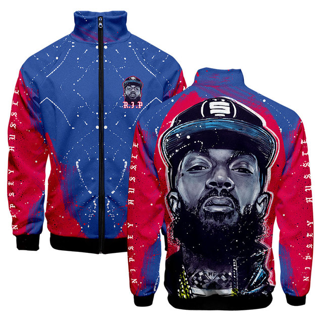 Man Jacket Spring 2019 NIPSEY HUSSLE Rip Zipper Streetwear Stand Collar Fashion 3D Print Clothes Hip Hop Jackets Casual Clothing