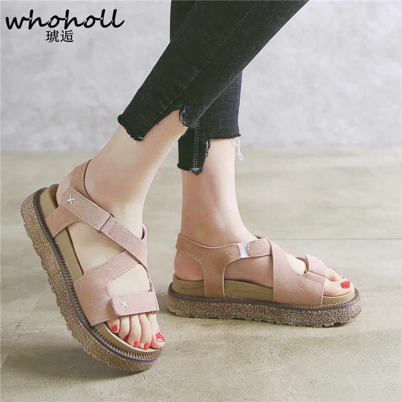 213a77d9c61c Summer Platform Shoes Fashion Buckle Strap Women Sandals Casual Platform  cork Sandals Black Pu Outdoor Womens