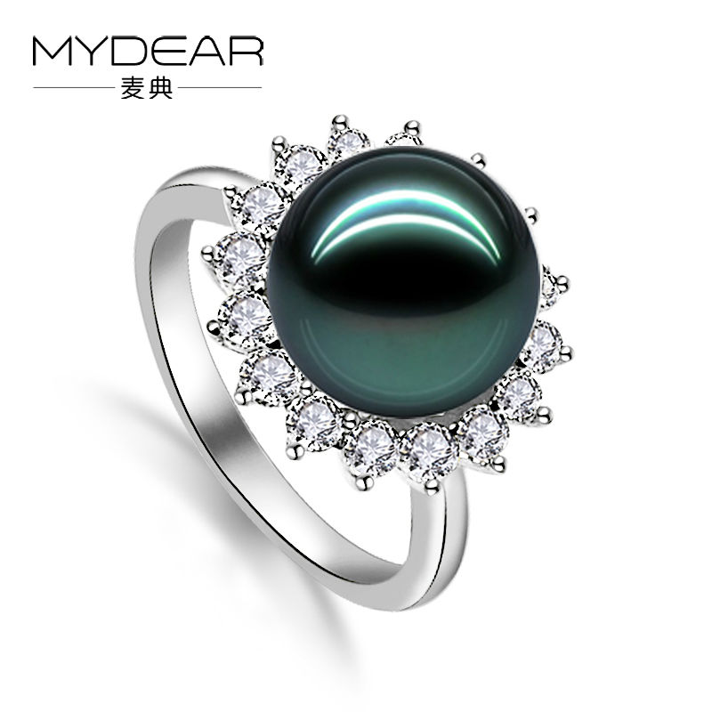 MYDEAR Pearl Jewelry Trendy Sunflower Shape Silver Ring 8-9mm Tahitian Black Pearl Ring for Women,High Luster,Perfectly Round серьги spikes серьги