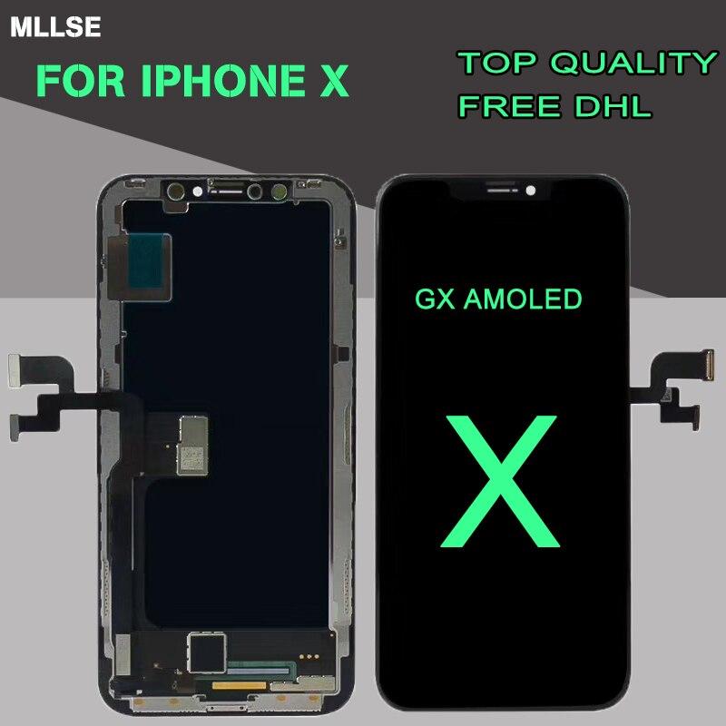 GX AMOLED OEM Affichage Pour iPhone X 8X10 OLED Écran Écran Tactile Digitizer Assemblée Remplacement de 1:1 Fit Parfaitement 5.8