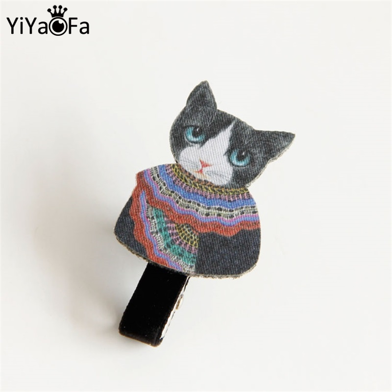YiYaoFa Handmade Cute Cat Hairpin Fashion Artificial Hair Jewelry for Girl Hair Clips Vintage Women Party Accessories FJ-38