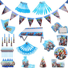 أدوات مائدة للاستعمال لمرة واحدة للأطفال أولادي زينة لحفلات أعياد الميلاد مُزينة بشخصيات كرتونية المنتقمون ، طقم مناديل أكواب ، حقيبة هدية ، مستلزمات حفلات