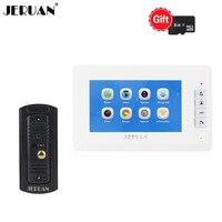 JERUAN 7 Inch LCD Color Video Intercom Door Phone Doorbell Record System Kit Metal Waterproof Night