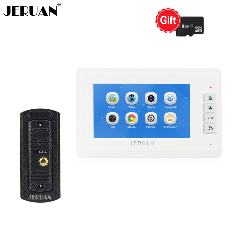 JERUAN 7 inch LCD Color Video Intercom Door phone Doorbell Record  System Kit Metal Waterproof Night Vision Camera In Stock
