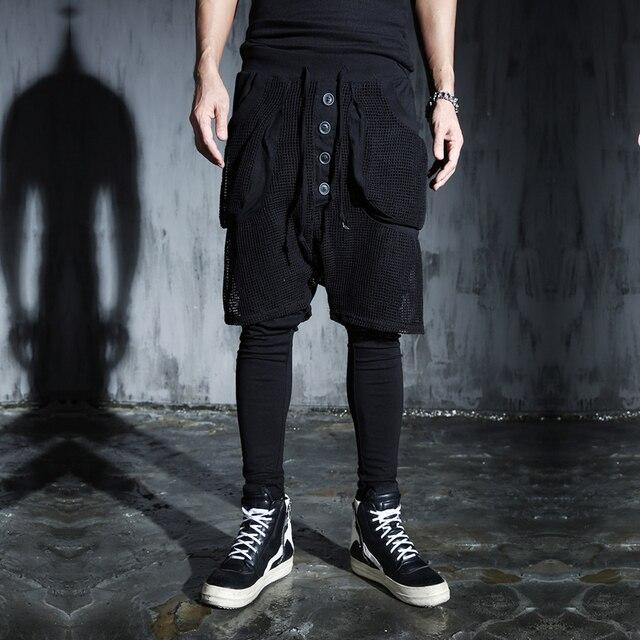 Мужская 2017 мода сетки панк брюки 2017 мужской HARAJUKU сетки сексуальные брюки шаровары