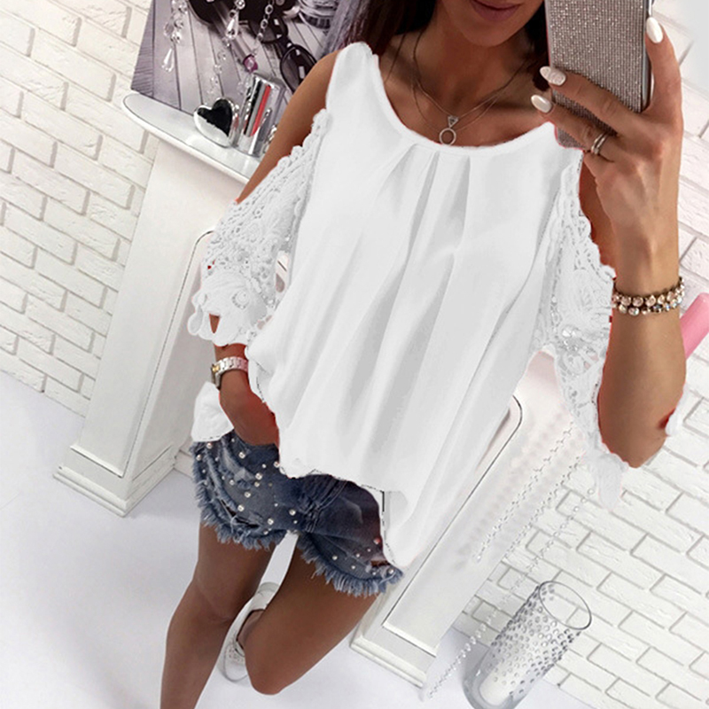 Hot Sale Womens Casual Off Shoulder Tops Blouse Shirts Summer Hot Hollow Out Sleeve Shirt Ladies Blouse Boho Tunic Tops